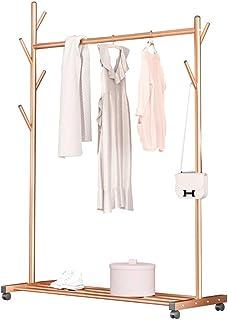 Porte-vêtements Tuyau d'acier robuste Arbre Porte-vêtements autoportant 6 crochets Organisateur de vêtements à roulettes a...