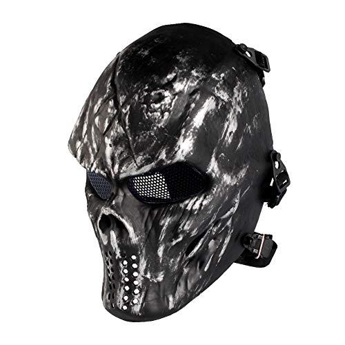 Halloween Full Face Skeleton Maske, Airsoft Maske, Taktische Paintball Maske, fur Softair CS Partyspiel (Metallgitter Augenschutz)