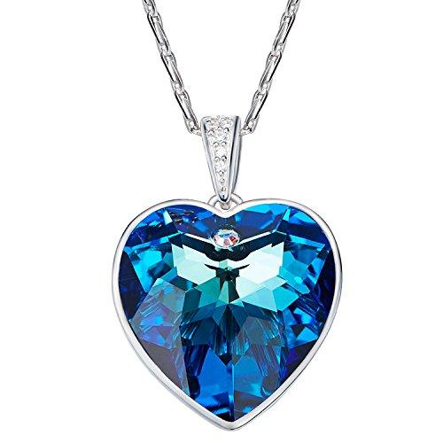 Aroncent Diseño Collar Plata de Ley y Swarovski Elemento Azul Austria Cadena Plateado Colgante Esterlina 925 de Corazón Regalo para Pareja Novia Amor Madre