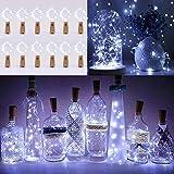Lichterkette Korken 12 Stück, Lichterkette Flasche, 2m Mini Lichterkette Draht mit Batterie, Kurze...