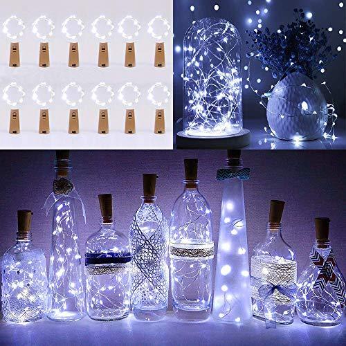 Lichterkette Korken 12 Stück, LED Lichterkette Flaschen, KWODE Kurze Lichterkette mit Batterie, 2m Mini Draht Kurz Kette für Urlaub Deko, Bottle, Party, Geschenk, Frische Blumen, Hochzeit (Kaltweiß)