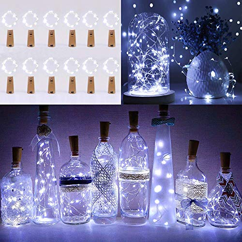 Lichterkette Korken 12 Stück, Lichterkette Flasche, 2m Mini Lichterkette Draht mit Batterie, Kurze Lichterkette, für Urlaub Deko, Party, Geschenk, Frische Blumen, Hochzeit (Kalt weiß)