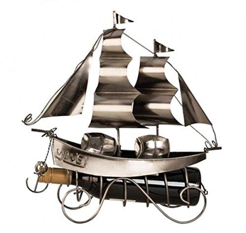 Unbekannt Moderner Wein Flaschenhalter Flaschenständer Segelschiff aus Metall in Silber Höhe 38,5 cm