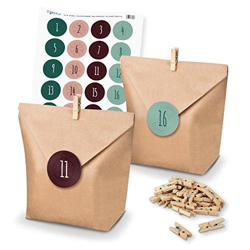 itenga - Set de calendario de Adviento para rellenar uno mismo, con bolsas para regalos + pinzas + pegatinas (números del calendario de Adviento) Motiv Z14 Grün Rot Schlicht