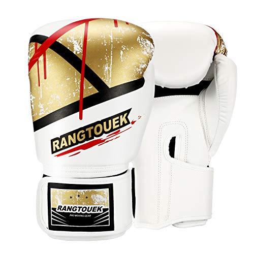 RangTouek Boxhandschuhe für Training & Muay Thai, Punchinghandschuhe mit PU-Leder für Kickboxen, Sparring & Boxsack, 12 oz, Weiß und Gold