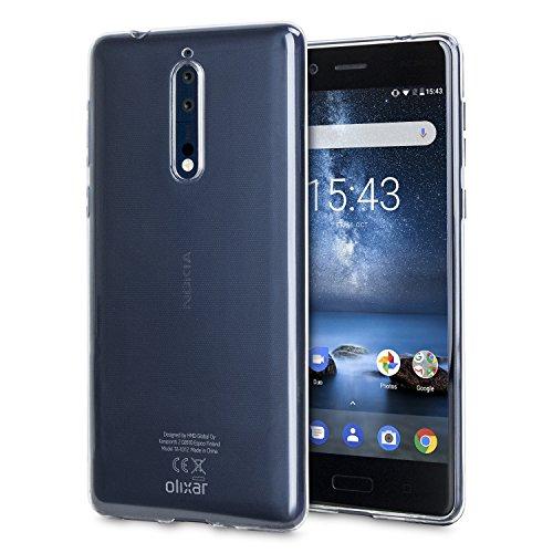 Nokia 8Clear Case-Slim Soft cover Gel-ultra sottile-Olixar 100% trasparente-flessibile case