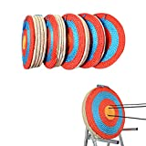 AMEYXGS 4-Ring Bullseye Archery Shooting Target Handmade Traditional Straw Target 1-5 Layer Target Solid Round for Outdoor Sports Hunting Shooting Practice
