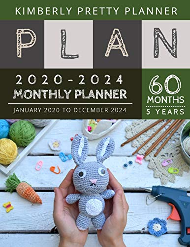 5 year monthly planner 2020-2024: 2020-2024 Five Year Planner | 60 Months Calendar, 5 Year Appointment Calendar, Business Planners, Agenda Schedule ... Logbook and Journal | rabbit knitting design