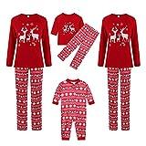 Pijama familiar con diseño de renos, pijama largo de Navidad, cuello redondo, algodón, camiseta de manga larga, pijama de Navidad, dos piezas largas, diseño de rayas, Infantil rojo, 4 años