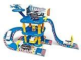 Brigamo ★ Polizei Station Parkhaus Rennbahn mit Spielzeugauto und Hubschrauber ★