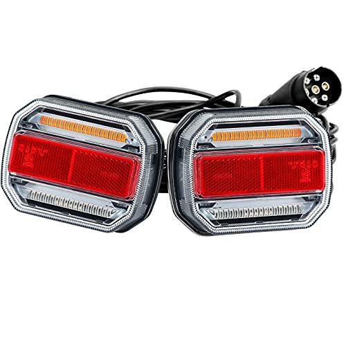 AGRISHOP Magnetische LED Rückleuchten für Anhänger Set 10-30V,LED Anhänger Heckleuchten Dynamisch Fließend,LED Rückleuchten Anhänger mit Magneten 7Poligem Stecker 7,5m Kabel Wasserdicht E-Mark