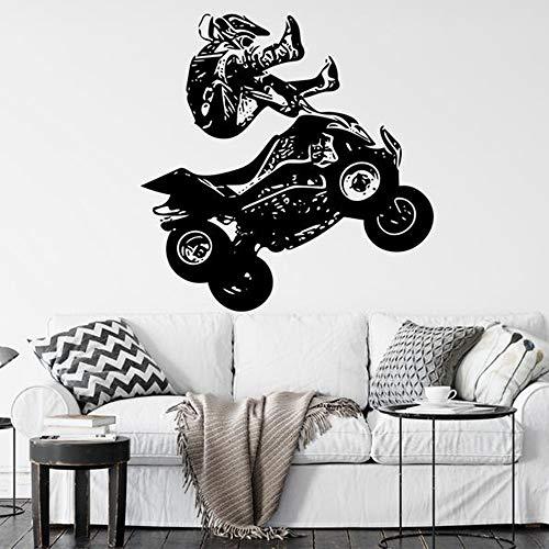 Vierrädrige Motorrad Wandtattoos vierrädrige Motorrad Rennfahrer Extremsport Kunst Vinyl Aufkleber Jugend Schlafzimmer Spielzimmer Heimdekoration 64,5x63cm