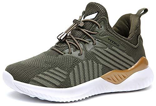 VITIKE Kinder Schuhe Jungen Schuhe Mädchen Sneaker Damen Sportschuhe Outdoor Schuhe Jungen Turnschuhe Laufschuhe Schnürer Freizeit Sportschuhe Kinder Sneaker, 8-grün, 31 EU