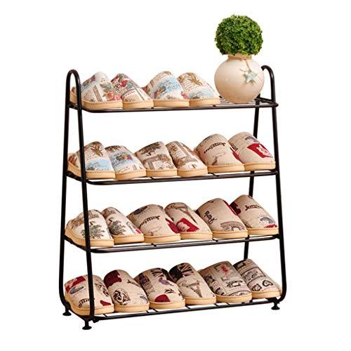 Range-chaussures|4 rangées|Organisateur de rangement pour chaussures en métal de grande capacité|Étagère à chaussures en fer pour le support de fleur multifonctionnel de salon de couloir| Noir