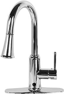 Waterkraan Pull-down, Verchroomde Keukenkraan, Aanrecht Kraan Pull Down Sproeier Warm & Koud Mengen Sensor Verchroomd US ...