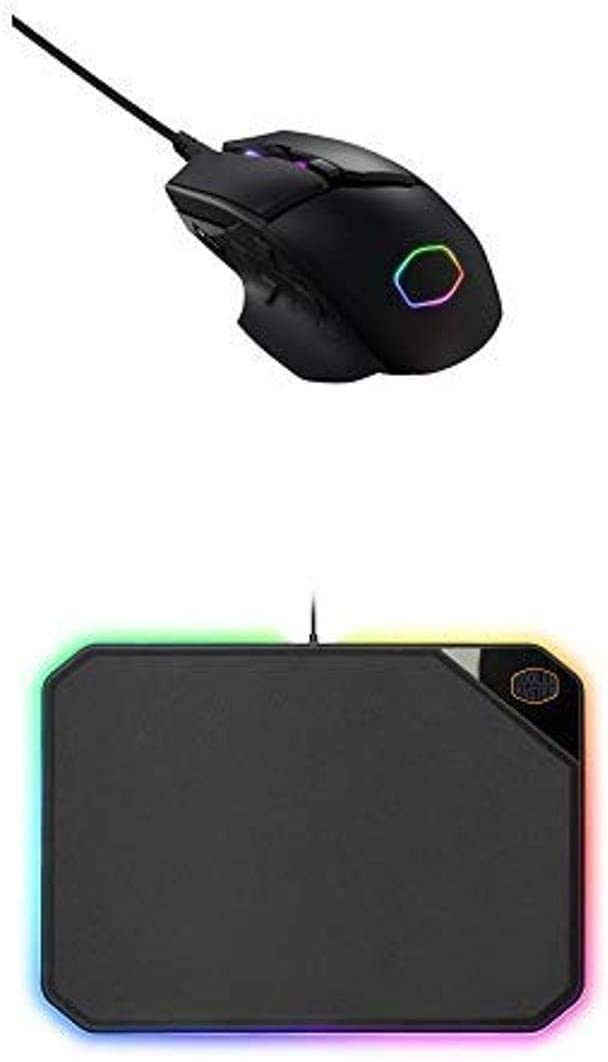 Cooler Master MM830 Gaming Mouse with 24,000 DPI Sensor and MPA-MP860-N1 Dual-Sided Mouse Pad with RGB Illumination
