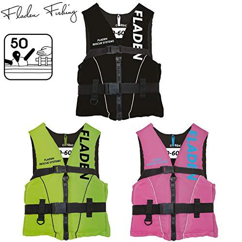 Fladen Fishing Rescue System Schwimmweste/Rettungsweste - Kinder & Erwachsene - Schwarz/Grün/Pink (Schwarz, L - 70-90 kg)