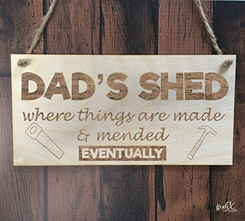 the grafix studio Dad's Shed Funny Wooden Plaque Sign Laser Engraved pq57