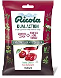 Ricola Dual Action Swiss Cherry Cough Suppressant & Oral Anesthetic Throat Drops 19 Drops, Fights Coughs Naturally, Soothes Throats
