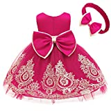 Infant Girls Big Bowknot Dresses Baby Little Girls Fuchsia Lace Wedding Party Ball Gown Frocks Dress (Rose,60)