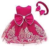 CMMCHAAH Little Girls Christmas Hot Pink Dresses Kids Toddler Formal Easter Ball Gown Birthday Pageant Dress (Rose,100)