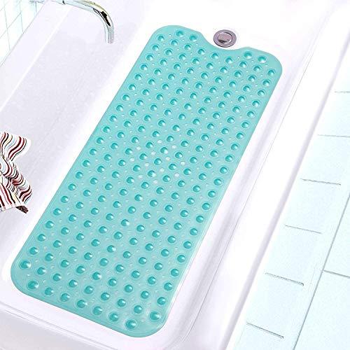 PRXD Extra Lungo per Vasca da Bagno tappetini Antiscivolo Tappetino Vasca Doccia Antibatterico tappeti, Superior Grip e drenaggio (40 x 100 cm) (Verde)