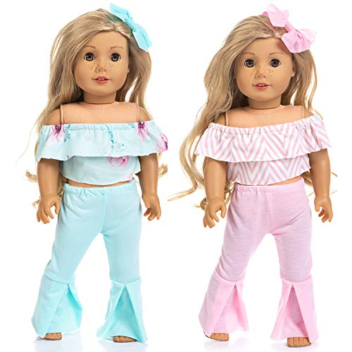 Ecore Fun 2 Sets 18 Inch Doll Clothes Summer Causual Wear Outfits Pants for American 18 Inch Girl Doll Birthday Reward Gift for Girl