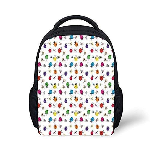 Kids School Backpack Ladybugs,Dotted Insects with Floral Illustration Valentines Day Inspired Romantic Elements,Multicolor Plain Bookbag Travel Daypack