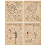 Vintage Cartier Jewelry Patent Poster Prints, Set of 4 (8x10) Unframed Photos, Great Wall Art Decor Gifts Under 20 for Home, Office, Studio, Salon, Student, Stylist, Teacher, Fashion Designer & Fan