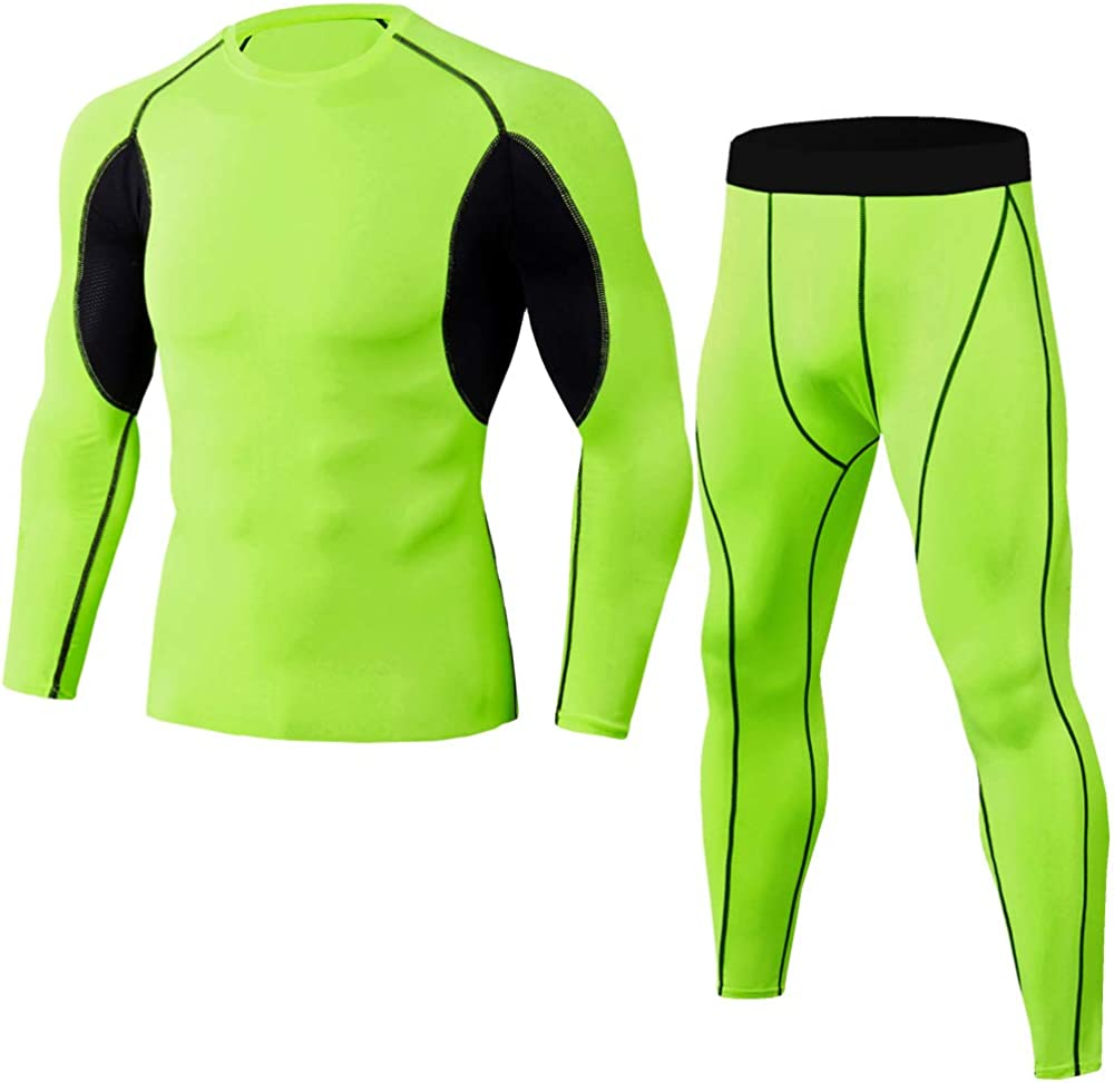 Men's Thermal Underwear Ultra Soft Brushed Thermal Pants Bottoms Long Johns and Top Quick Dry Base Layer Set