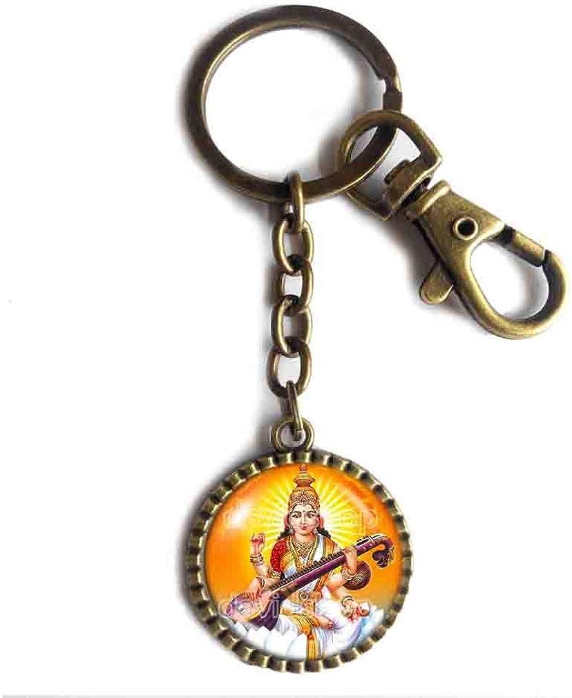 Handmade Fashion Jewelry Saraswati Keychain Key Chain Key Ring Cute Keyring Car Hindu Gods Goddesses Om Vagishvari Vinapani