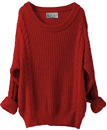 Liny Xin Women's Cashmere Oversized Loose Knitted Crew Neck Long Sleeve Winter Warm Wool Pullover Long Sweater Dresses Tops (Red