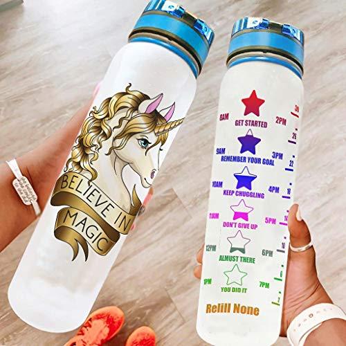 Ftcbrgifk Botella de agua deportiva de 1000 ml, diseño de unicornio, a prueba de fugas, botella de plástico para gimnasio, con marcador de tiempo motivacional, color blanco, 1000 ml