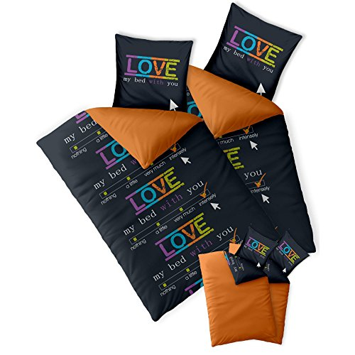 CelinaTex Fashion Bettwäsche 155x200 cm 4teilig Baumwolle Love Wörter Schwarz Orange