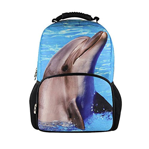 DRF Zaino 3D stampe animali in Tela porta laptop 15in SKU:BG-0110 (Delfino)