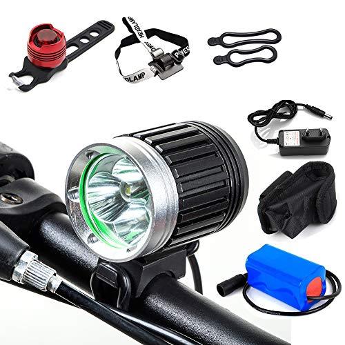 TANSUO Luz Bicicleta Delantera Led Foco Bicicleta Luces Bicicleta Led 4000LM 3 x CREE XM-L T6 con Batería y Cargador+Luz de la Cola