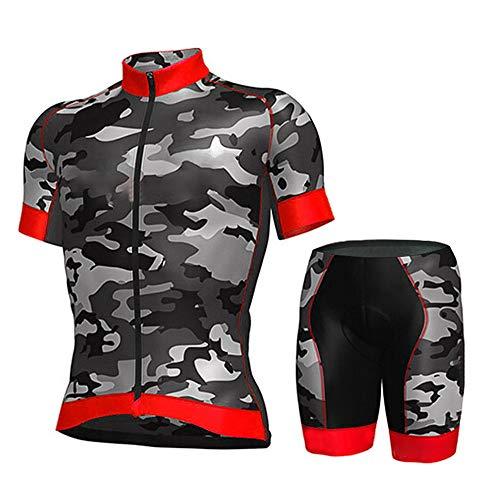 Maillot De Ciclismo Conjunto Para Hombre,Diseño De Camuflaje Rojo Road Riding Mtb...