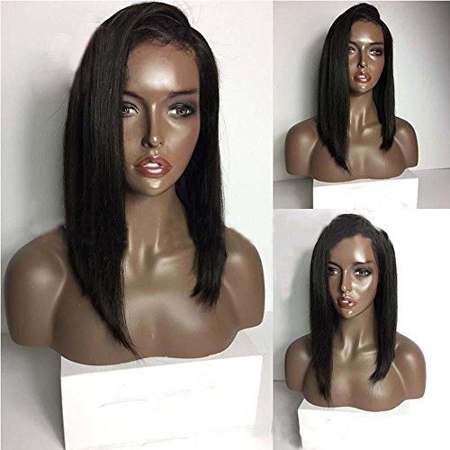 MZP Les casques de perruques à haute densité fabriqués à la main véritable tête de dentelle à cheveux courts réels peuvent être personnalisés , 8 inches full hand