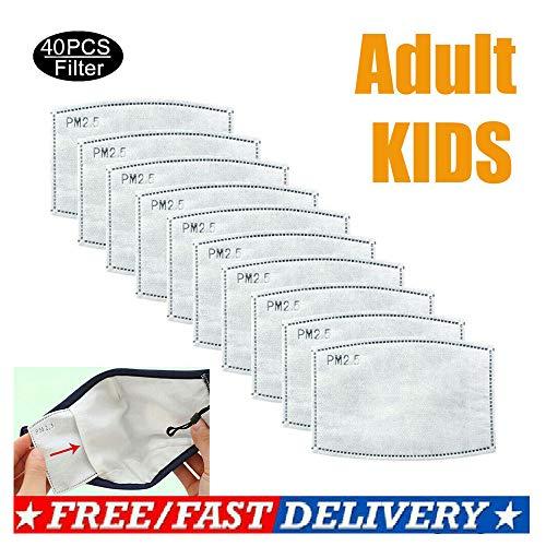 ZUYOKI 40PCS Algodón PM2.5 Máscara bucal Respirador antipolvo Máscaras reutilizables lavables (1PC Máscara + 40PC Máscara Filtro- Adultos)