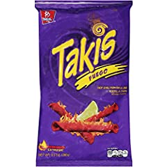 Takis Fuego Hot Chili Pepper & Lime Tortilla Chips, flavored with crunchy chili and lemon, for those who like hot taste. Takis Fuego Hot Chili Pepper & Lime Tortilla Chips is spicy, wonderfully rich in flavors that pop up in your mouth with every bit...