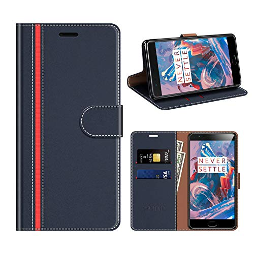 COODIO OnePlus 3T Hülle Leder, OnePlus 3 Kapphülle Tasche Leder Flip Cover Schutzhülle Rugged für OnePlus 3T / OnePlus 3 Handyhülle, Dunkel Blau/Rot