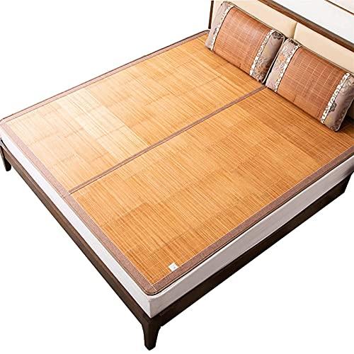 NNLX Colchón de bambú Topper, Ropa de Cama de 3 Piezas Alfombra de Paja de Verano alfombras para Dormir para Camas de Cama Plegable de Doble Cara,A,0.8 * 1.9M(34 * 74in)