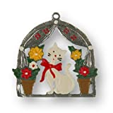 Pinnacle Peak Trading Company White Cat with Flowers German Pewter Christmas Ornament Made Germany Decoration