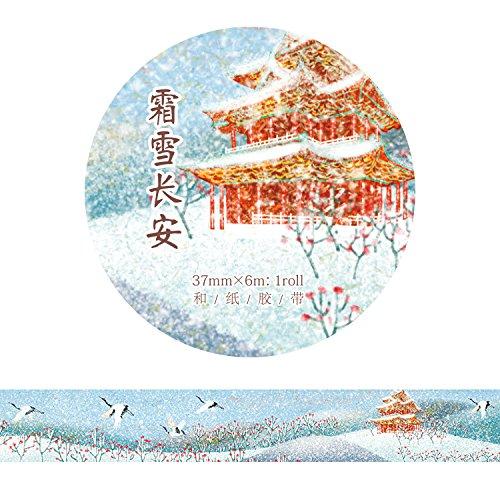 YFB Stile antico dipinto a mano e nastro di carta quattro stagioni koi fata gru inchiostro cinese fai-da-te account mano 37mm gelo-neve Changan