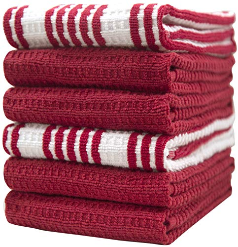 """Premium Kitchen Towels (16""""x 28"""", 6 Pack) – Large Cotton Kitchen Hand Towels – Striped Waffle Yarn Dyed – 380 GSM Highly Absorbent Tea Towels Set with Hanging Loop - Red"""