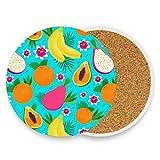 Posavasos de cerámica absorbentes para bebidas, frutas tropicales y limón, corcho, juego de 4 posavasos para decoración de casa, para salón, bar