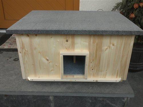 Lösche Holzbau Katzenhaus groß für 2 Katzen Heizung Katzenhütte Wurfkiste isoliert Heizung beheizt