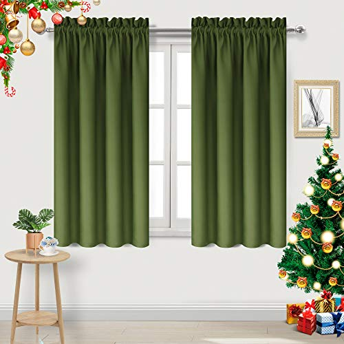 DWCN Olive Green Room Darkening Blackout Curtains - Thermal Insulated Privacy Energy Saving Window Curtain Drapes 42 x 45 inch Length, Set of 2 Bedroom Living Room Curtains