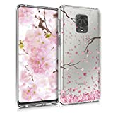 kwmobile Case Compatible with Xiaomi Redmi Note 9S / 9 Pro / 9 Pro Max - Clear Case Soft TPU Phone Cover - Cherry Blossoms Pink/Dark Brown/Transparent