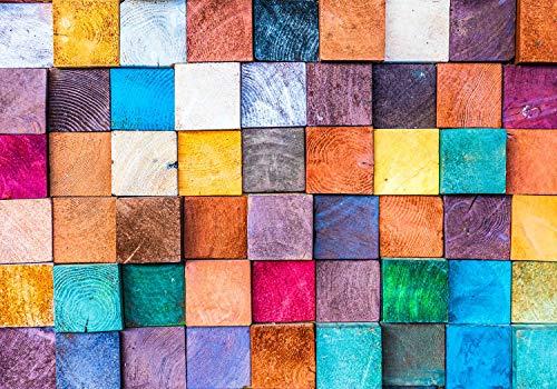 wandmotiv24 Fototapete Holzbalken Holzwand Geometrisch XL 350 x 245 cm - 7 Teile Fototapeten, Wandbild, Motivtapeten, Vlies-Tapeten Bunt Holz Abstrakt M5920
